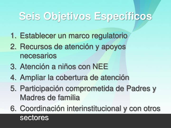 Seis Objetivos Específicos