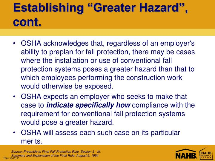 "Establishing ""Greater Hazard"", cont."