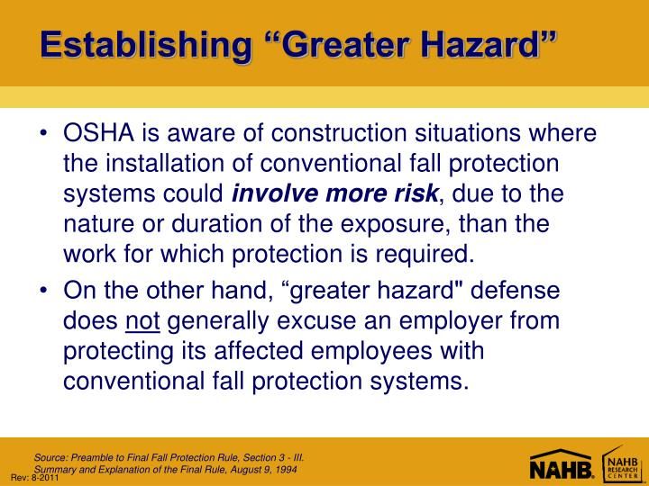 "Establishing ""Greater Hazard"""