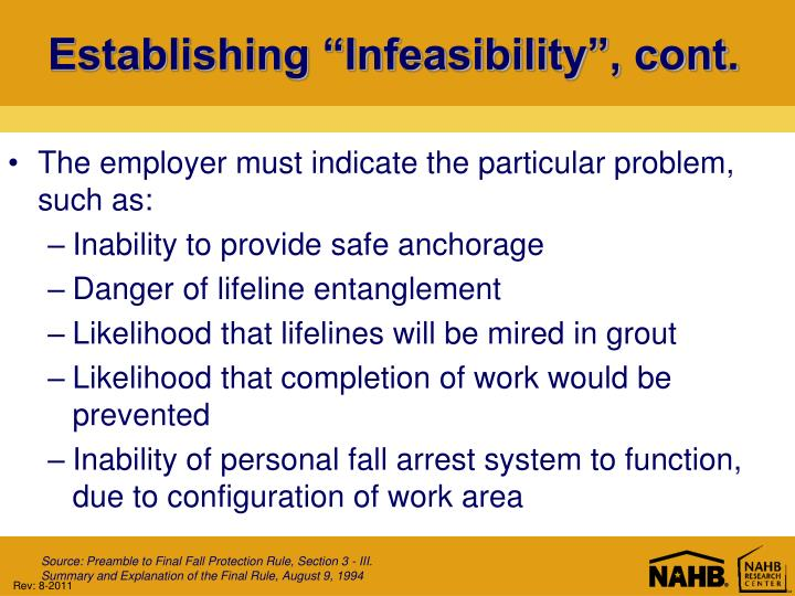 "Establishing ""Infeasibility"", cont."