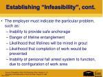 establishing infeasibility cont