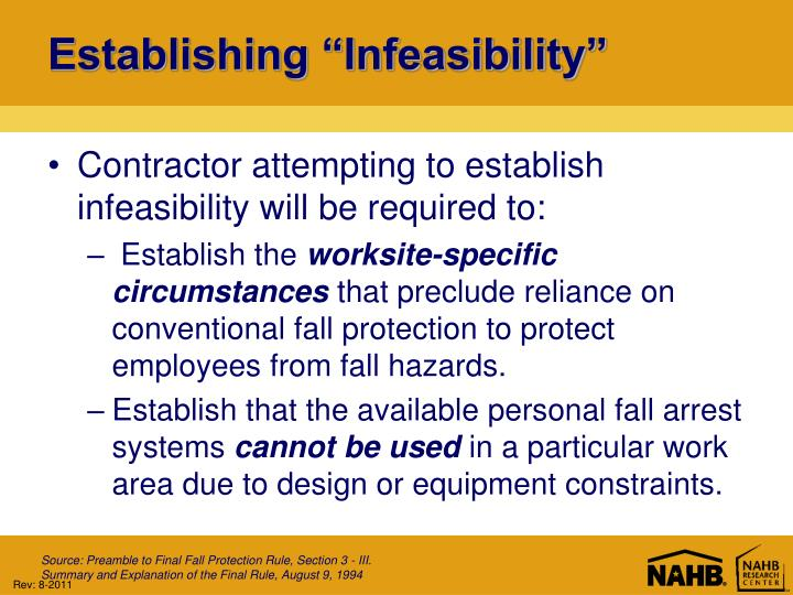 "Establishing ""Infeasibility"""