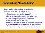 establishing infeasibility