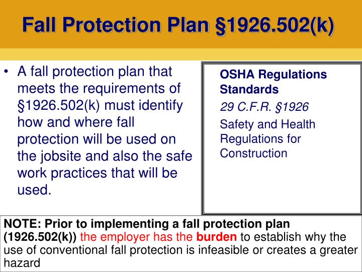 Fall Protection Plan §1926.502(k)