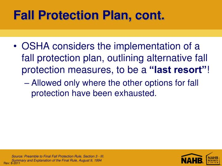 Fall Protection Plan, cont.