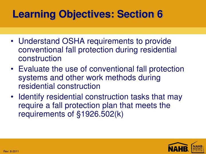 Learning objectives section 6