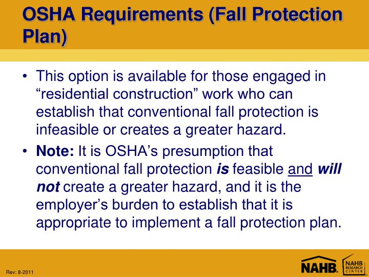 OSHA Requirements (Fall Protection Plan)