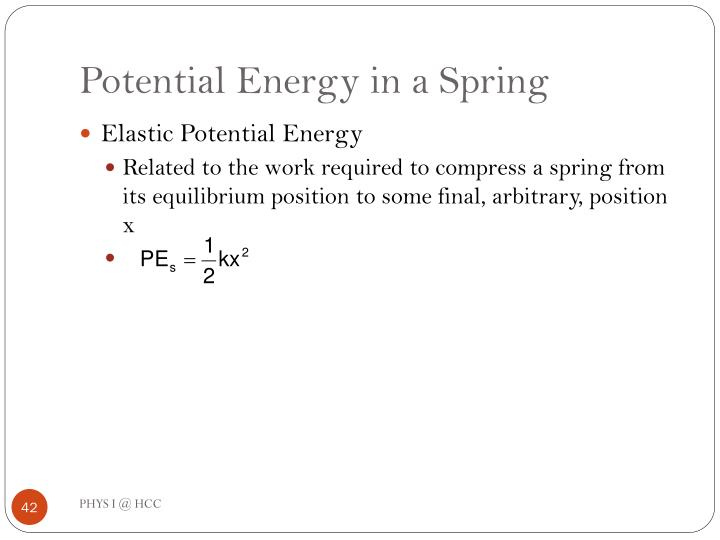 Potential Energy in a Spring