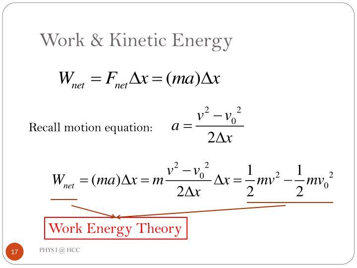 Work & Kinetic Energy