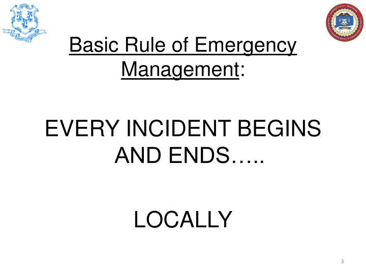 Basic Rule of Emergency Management