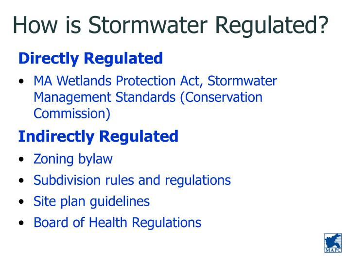 How is Stormwater Regulated?
