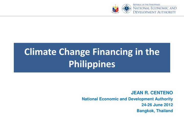 Climate Change Financing in the Philippines