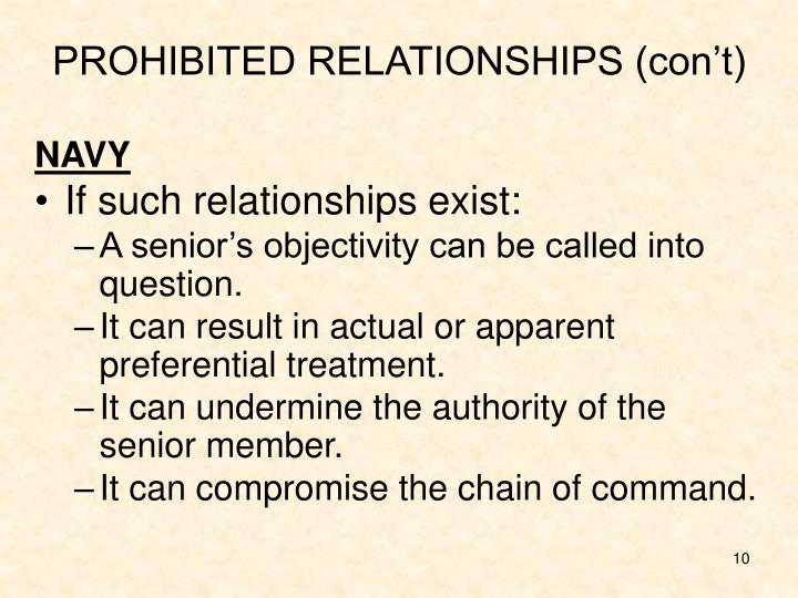 PROHIBITED RELATIONSHIPS (con't)