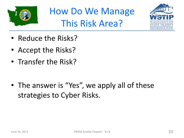 How Do We Manage This Risk Area?