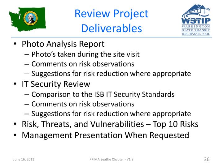 Review Project Deliverables