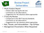 review project deliverables
