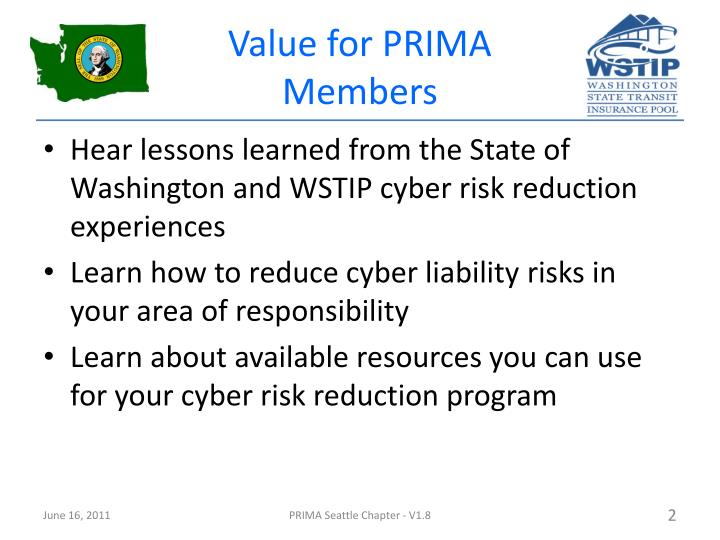 Value for prima members