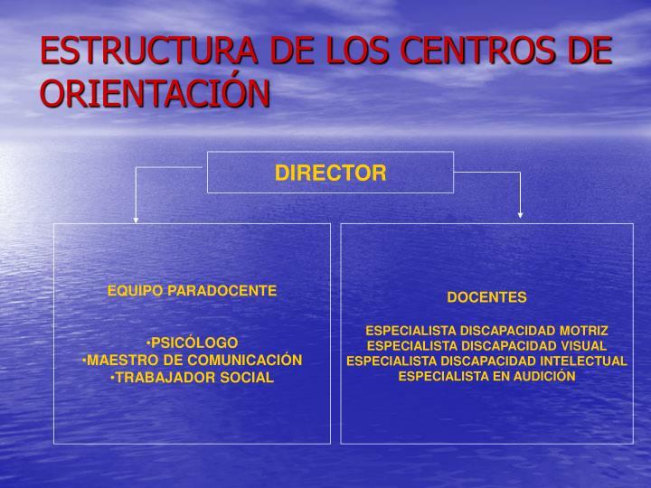ESTRUCTURA DE LOS CENTROS DE ORIENTACIÓN
