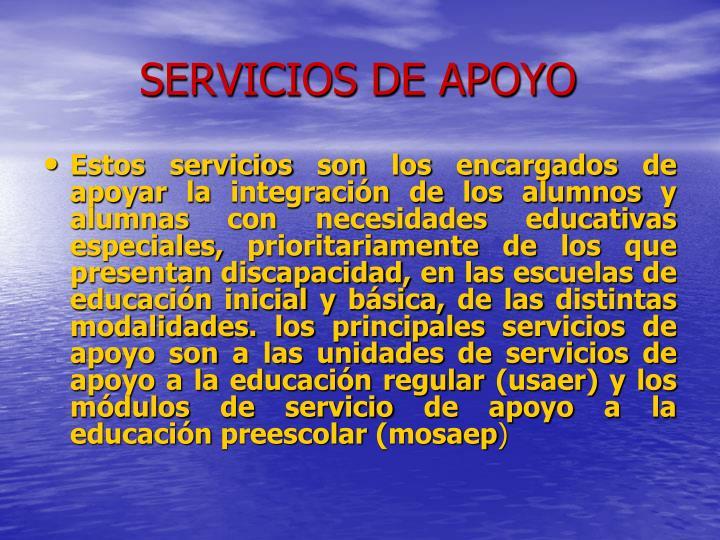 SERVICIOS DE APOYO