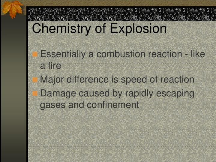 Chemistry of explosion