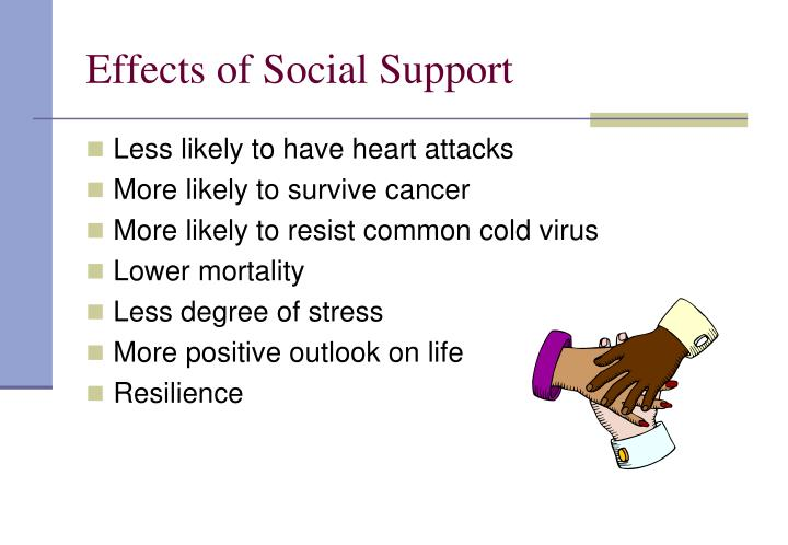 the effect of social support or Social support activities lead to better quality of life as one ages august 8, 2011 how important is social support as a person ages this may seem like an easy question to answer.