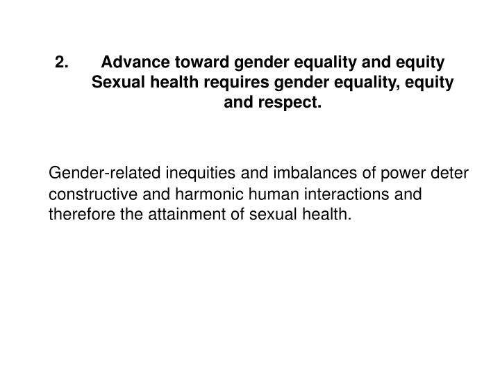 Advance toward gender equality and equity
