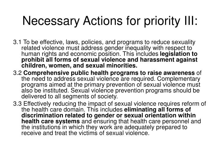 Necessary Actions for priority III: