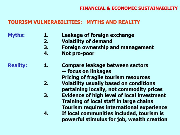 FINANCIAL & ECONOMIC SUSTAINABILITY