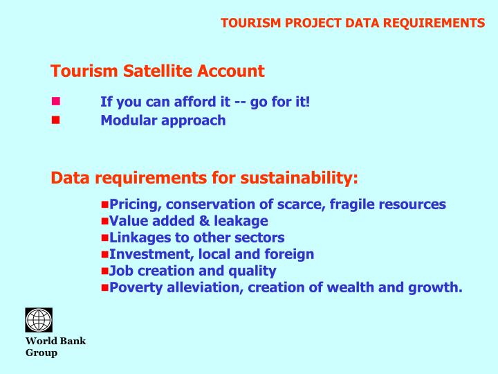 TOURISM PROJECT DATA REQUIREMENTS