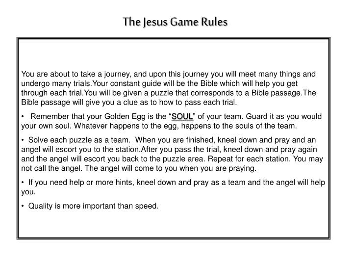 The Jesus Game Rules
