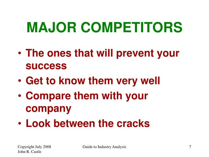 MAJOR COMPETITORS