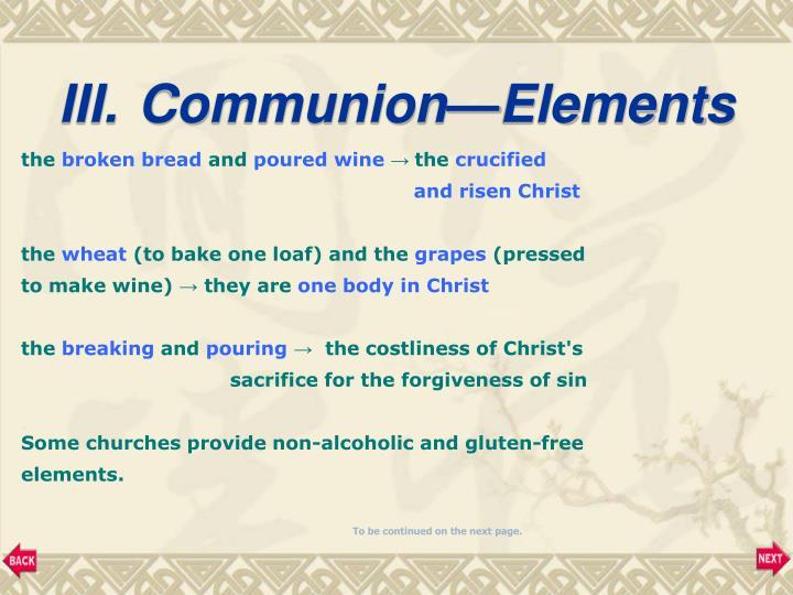 Communion—Elements