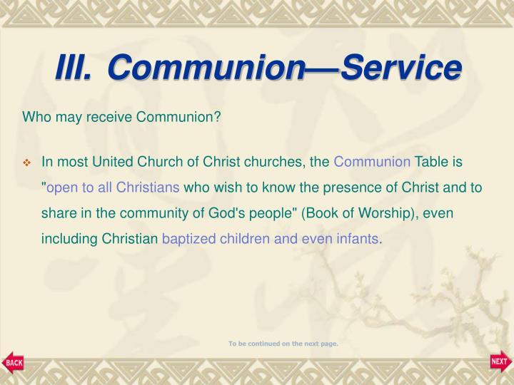 Communion—Service