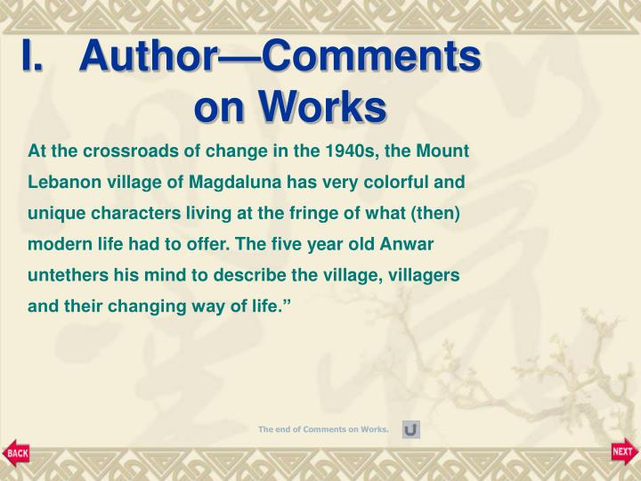 I.   Author—Comments on Works