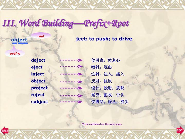 III. Word Building—Prefix+Root