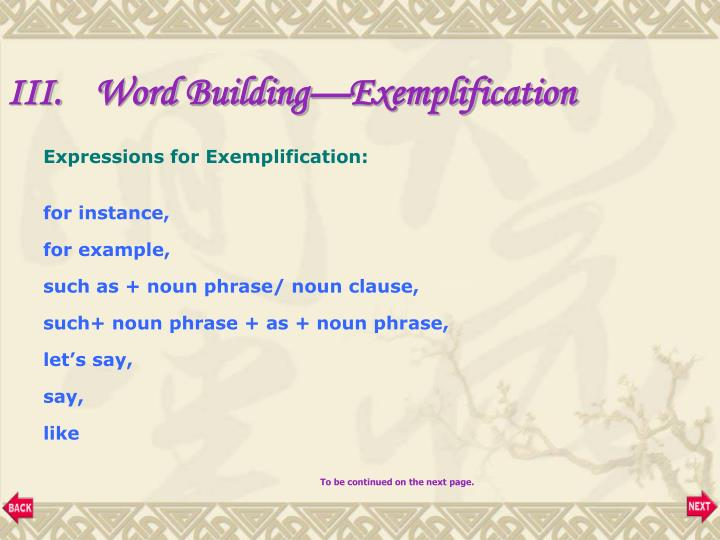 Word Building—Exemplification