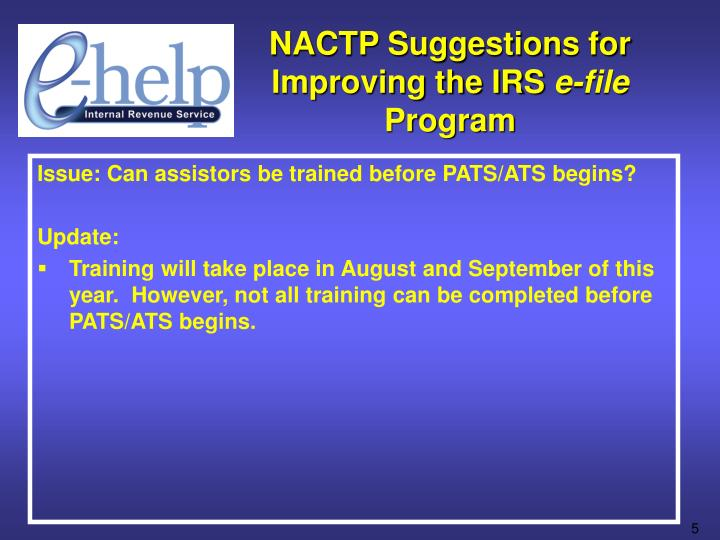 NACTP Suggestions for Improving the IRS
