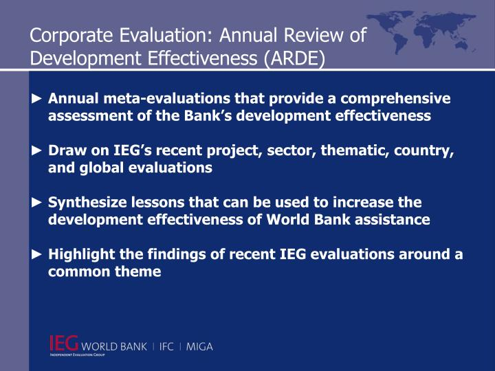 Corporate Evaluation: Annual Review of Development Effectiveness (ARDE)