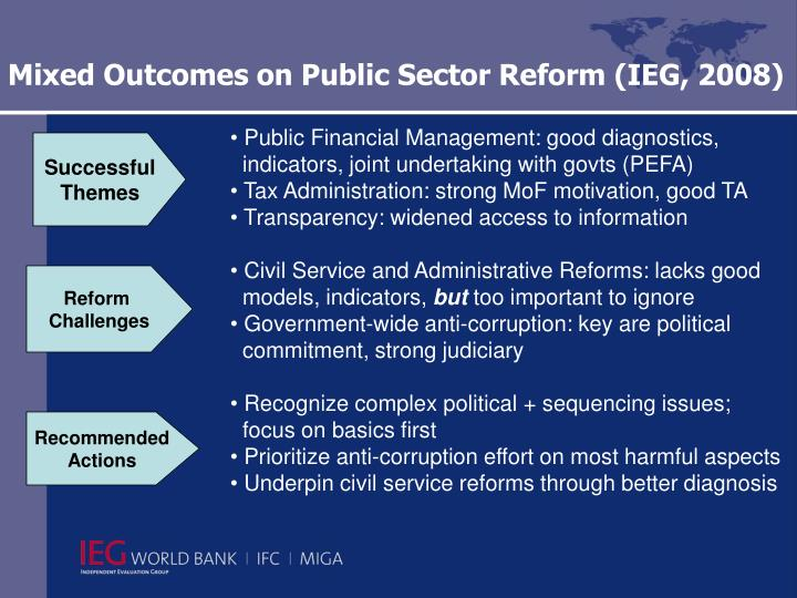 Mixed Outcomes on Public Sector Reform (IEG, 2008)