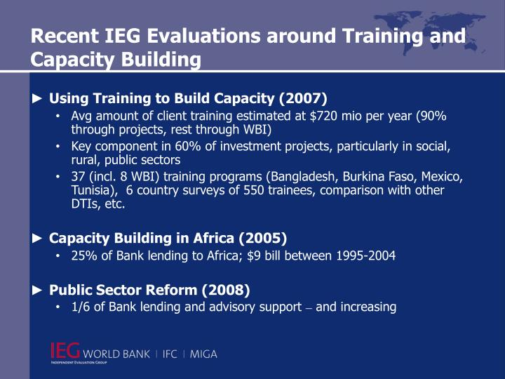 Recent IEG Evaluations around Training and Capacity Building