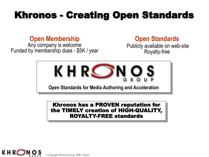 Khronos creating open standards
