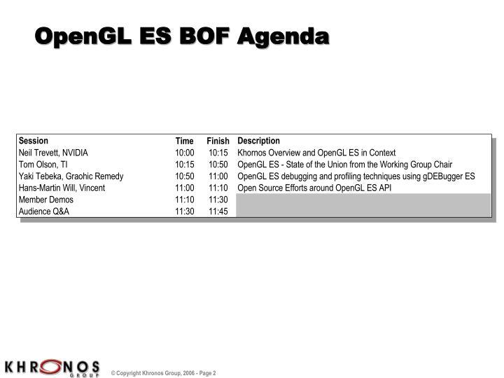 OpenGL ES BOF Agenda
