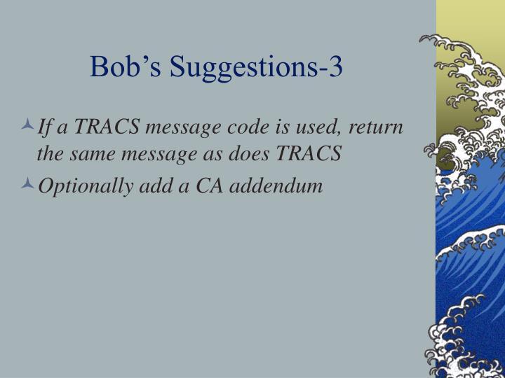 Bob's Suggestions-3