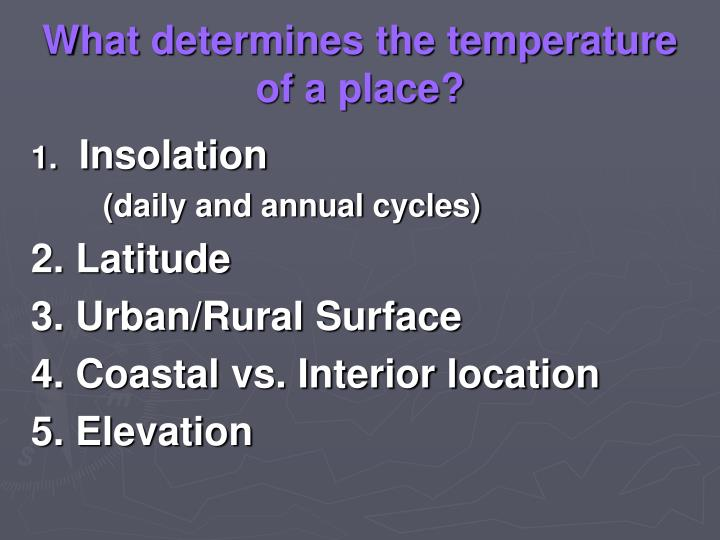 What determines the temperature of a place?