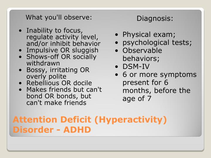Attention deficit disorder reasons symptoms and social perception