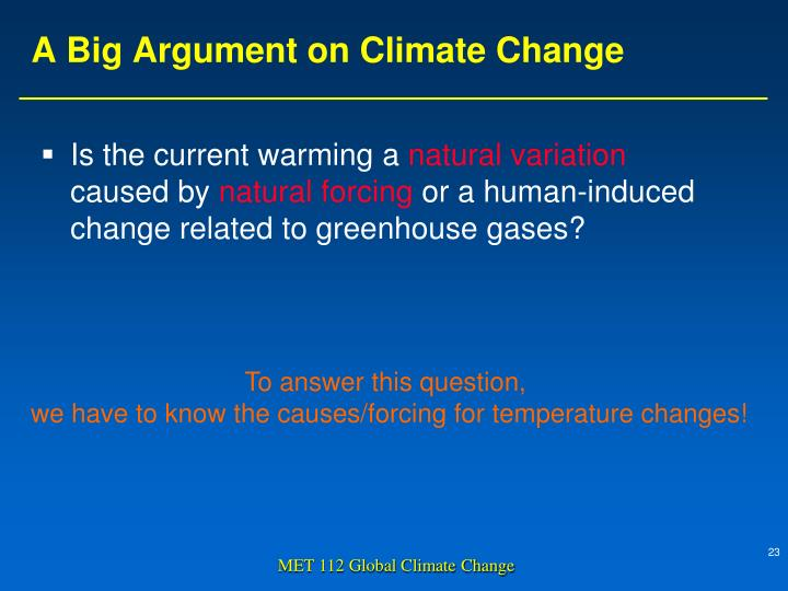 A Big Argument on Climate Change