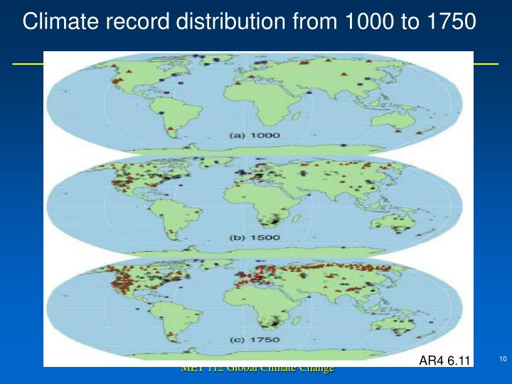 Climate record distribution from 1000 to 1750