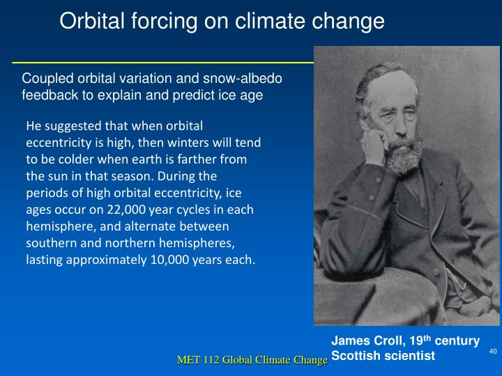 Orbital forcing on climate change