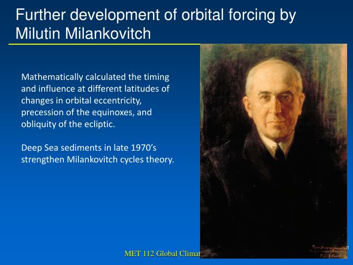 Further development of orbital forcing by Milutin Milankovitch