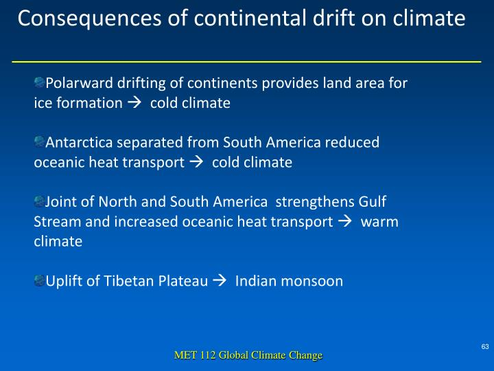 Consequences of continental drift on climate